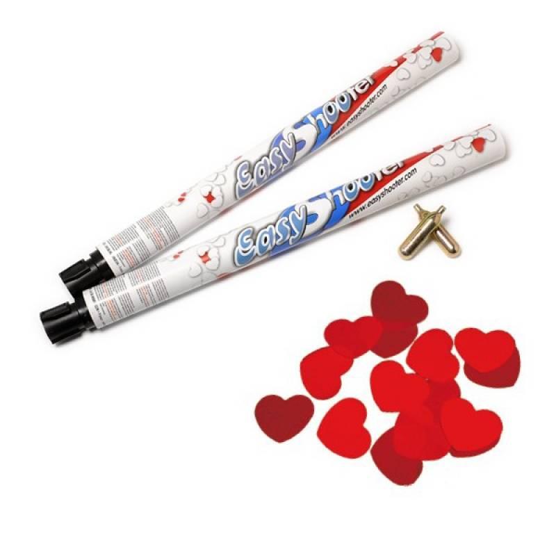 canons à confettis coeur rouges